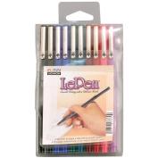 Uchida 473330 Le Pen Set . .  mm Point 10-Pkg-Black-Blue-Red-Green-Pink-Burg-Teal-Lav