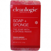 Clean Logic Soap + Sponge, Peach Berry , 120ml