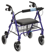 Drive Medical 10215RD-1 Go-Lite Oversized Steel Rollator 4 Wheel Loop Lock Red