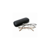 Vienna Eyewear Readers, Gold and Gun Metal Thin Semi-Rimless Glasses with Protective Case, 1.25 1 ea