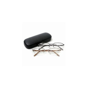 Vienna Eyewear Readers, Gold and Gun Metal Thin Semi-Rimless Glasses with Protective Case, 2.25 1 ea