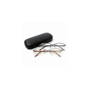 Vienna Eyewear Readers, Gold and Gun Metal Thin Semi-Rimless Glasses with Protective Case, 2.75 1 ea