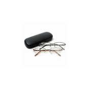 Vienna Eyewear Readers, Gold and Gun Metal Thin Semi-Rimless Glasses with Protective Case, 2.00 1 ea