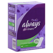 Always Pantiliners, Long, Unscented, 40 pantiliners