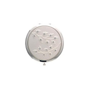 Silver Round Compact Mirror (Leaves wClear Rhinestones) - S4078SIL