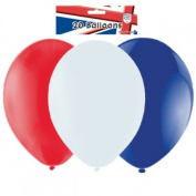 "Pack of 20 Red/White/Blue Latex Balloons (9""/23cm) {Great Britain}"