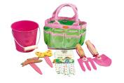 Tierra Garden 7-LP380 Little Pals Kids Junior Garden Kit with Hand Trowel, Hand Fork, Gloves, Plant Markers, and Bucket, Pink