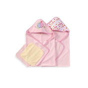 SpaSilk Hooded Towels with Matching Washcloths - Pink with Fish