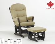 Dutailier Ultramotion Modern Glider Rocker Multiposition Recline and Ottoman Combo -  Espresso Finish Sage Micro Fabric