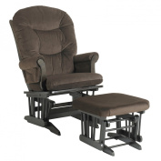 Dutailier Ultramotion Sleigh Glider Rocker and Ottoman Combo -  Espresso Finish Micro Brown Fabric