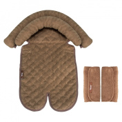 Jeep Grow With Me Double Head Support  bundled with Jeep Seatbelt Strap Covers - Brown
