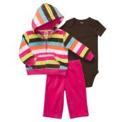 Carter's Girls 3-Piece Striped Fleece Cardigan Set - Pink
