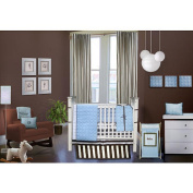 Bacati Quilted Circles Blue & Chocolate 4-Piece Crib Set