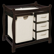 Badger Basket Espresso Sleigh Style Changing Table with Hamper and 3 Baskets