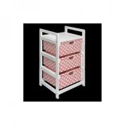 Badger Basket White Three Drawer Lightweight Hamper/Storage Unit - Pink Polka Dots
