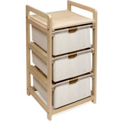 Badger Basket 00122 Natural-Unfinished Three Drawer Hamper-Storage Unit