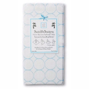 Swaddle Designs Marquisette Swaddling Blanket - White with Blue Mod Circles