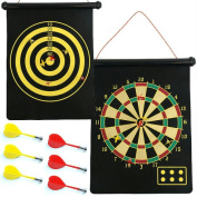 Magnetic Roll Up Dart Board and Bulls-eye Game with Darts