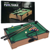 Mini Table Top Pool Table Set - Cues, Triangle and Chalk