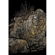 ENGRAVING ART & TOOL GOLD FOIL STYLE LION AND CUBS