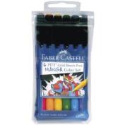 Manga Pitt Artist Brush Pens 6/Pkg-Assorted Colours