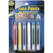 Face Paint Push Up Crayons 6/Pkg-Bright Colours