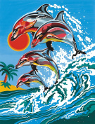 Reeves Dolphins Acrylic Painting Set by Numbers, Medium
