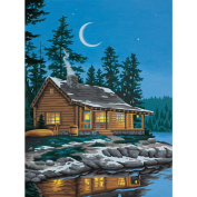 Dimensions 398978 Learn To Paint Paint By Number Kit 9 in. x 12 in. -Lakeside Cabin