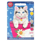 Dimensions 375100 Learn To Paint Paint By Number Kit 8 in. x 10 in. -Flower Pot Kitten