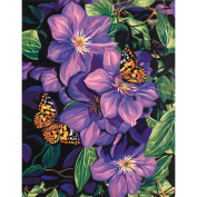 Dimensions 398975 Paint By Number Kit 11 in. x 14 in. -Clematis& Butterflies