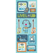 "Live Loud Chipboard Stickers 5""X12"" Sheet-Rock The Beat"