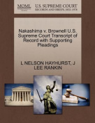 Nakashima V. Brownell U.S. Supreme Court Transcript of Record with Supporting Pleadings