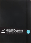 Monsieur Notebook - Real Leather A4 Black Plain