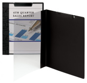 Accent Series Poly Report Cover, Binding Clip, Letter, Black, 5/Pack