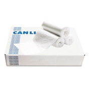 Waste Can Liners, 8-10 gal, 24 x 23, 0.4 mil, White, 25 Bags/Roll, 20 Rolls/Ctn