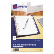 """Avery Consumer Products Pre-Printed Dividers, w/7 Holes, A-Z, 8-1/2""""x5-1/2"""", White"""