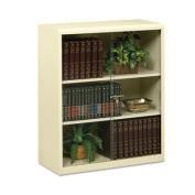 Executive Steel Bookcase With Glass Doors, Three-Shelf, 36w x 15d x 42h, Putty