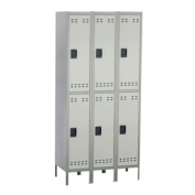 Safco Products Company SAF5526GR Double Tier Locker- 3-Wide w-Legs- 36in.x18in.x78in.- Gray