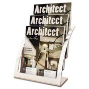 Deflect-O 693745 Three-Tier Magazine Holder, 11. 25w x 6. 94d x 13. 31h, Silver