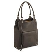 "Executive 16"" Leather/Poly Bucket Tote, 13 1/2 x 4 1/2 x 16, Espresso"