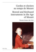 Cordes et Claviers au Temps de Mozart Bowed and Keyboard Instruments in the Age of Mozart