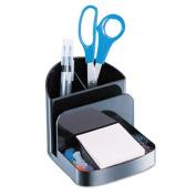 Recycled Desktop Supplies Organizer, 5 compartments, 5 3/8 x 6 3/4 x 5, Black