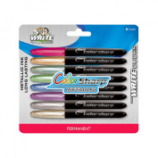 Metallic Fine Tip Permanent Markers, Assorted Colors, 8/Set