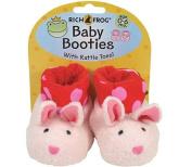Rich Frog Newborn Baby Booties - Pink Bunnies