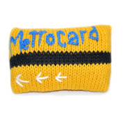 Estella Hand Knitted Designer Luxury Metrocard Baby Boy Girl And Unisex Infant unique gift Yellow Black Rattle Item, 8.9cm x 6.4cm