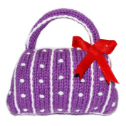 Estella Best Unique Hand Knitted Infant Baby Easy White Patterns Designer Purple Purse Bag Rattle, 8.9cm
