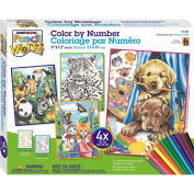 Dimensions Pencil by Number, Friendly Animals Variety Pack