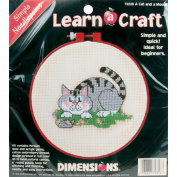 """Dimensions Learn-A-Craft """"A Cat and a Mouse"""" Needlepoint Kit, 15cm Round"""