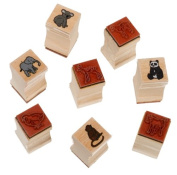 Melissa & Doug Baby Zoo & Farm Animals with 8 Wooden Stamps and 4 Colour Stamp Pad Set