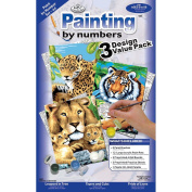Royal & Langnickel Painting by Numbers Junior Small 3-Piece Art Activity Kit, Jungle Cats Set